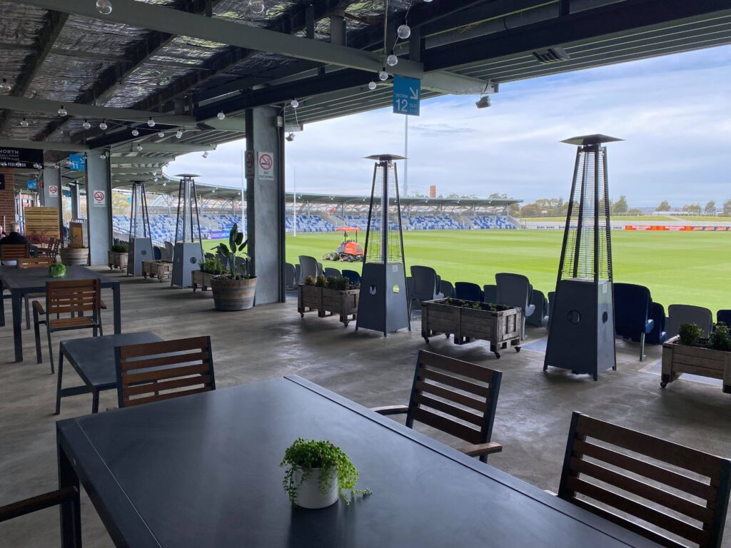 Our refurbished outdoor Terrace setting is perfect for lunch, dinners, casual drinks, and functions. Enjoy amazing views overlooking Mars stadium, with outdoor heaters, TVs, and comfortable seating available.